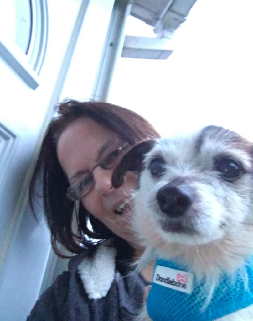 A woman named Suzanne and her rescue dog Neville
