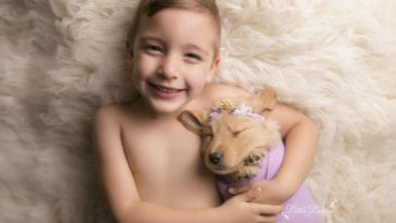 boy and golden retriever photoshoot