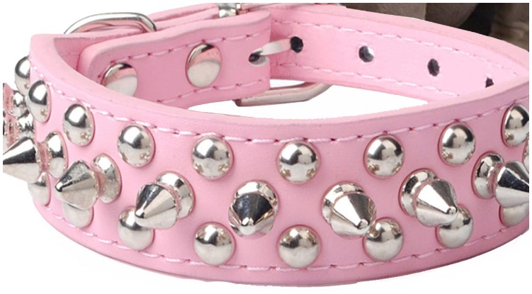 Pink colored pitbull dog collars available on Amazon