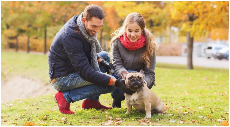 Two dog owners petting a dog after exchanging some dog pick up lines