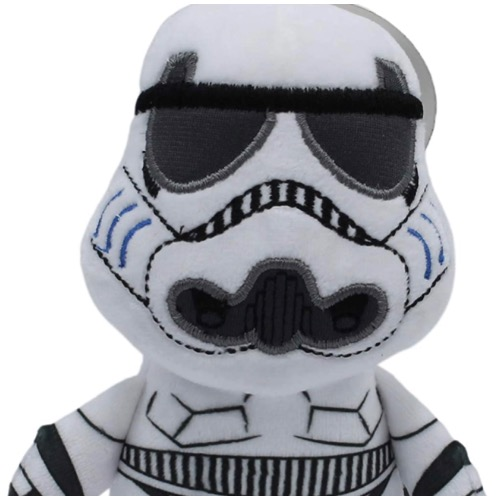 An adorable looking white and fluffy star wars dog toy